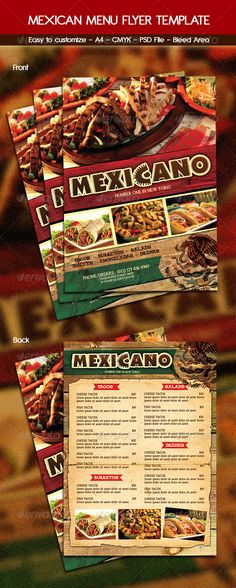 Steak Menu Flyer Template  Front Page Menu Research