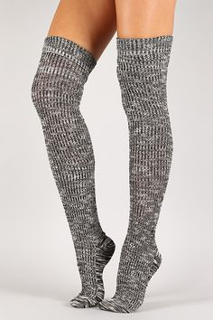 bf4707c4f5e Speckled Woven Thigh High Socks Knee Socks