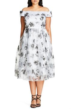 City Chic 'Sweet Off Shoulder' Fit & Flare Dress (Plus Size) available at #Nordstrom