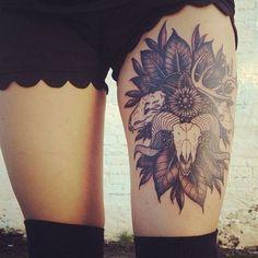 in tattoos Cool thigh tattoo. Love the animal skulls. owl tattoos Aztec calendar tattooed by Eiland Hogan Skull Thigh Tattoos, Thigh Tattoo Designs, Body Art Tattoos, Girl Tattoos, Tattoos For Women, Tattoo Thigh, Tatoos, Badass Tattoos, Female Leg Tattoos