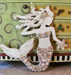 Made to Order Small Hand Made Mermaid Beach Wall Art Mixed Sea shells, Starfish, Textured Sculpture Mosaic, Signage, Sea Siren, Vintage Look