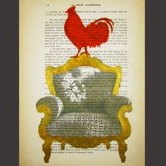 rooster on a chair #rooster #decor #vintage
