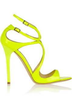 Jimmy Choo|Lance neon patent-leather sandals|NET-A-PORTER.COM