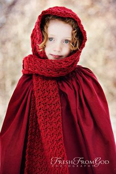 Little Red Riding Hood scarf.  Love this color, and this is a stunningly beautiful little model.