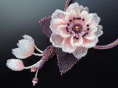 八重桜のボリュームビーズネックレス #カザリ咲色 #ビーズ #ビーズフラワー #ビジュー #ハンドメイド #ネックレス #手作り #手芸 #アクセサリー #bead #beads #bijou #beading #beadedflower #beadswork #beadwork #beadsph #bijoux #beaded #biser #corsage  #handmade