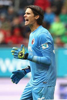 Marwin Hitz of Augsburg reacts during the Bundesliga match between FC Augsburg…
