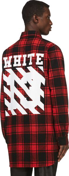 Off-white: Red & Black Flannel Plaid Virgil Abloh Edition Shirt