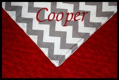 Personalized Boy Or Girl Red, Gray and White Chevron Baby Blanket