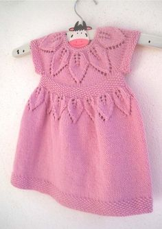 "Lily Dress. Pretty and sophisticated with a gorgeous Petal lace yoke and waistband with seed stitch trims. Knit in the round from the top down, comes in 7 sizes from Preemie to 6-year-old girl (to fit 12"" - 24"" Chest). This gorgeous pattern comes with the instructions to knit the cap sleeved, short sleeved and long sleeved versions making this pattern excellent value for money!  for baby to 6 year old girl.   Knitted dress knitting pattern baby babies girls"