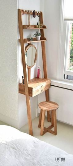 Amazing & Magical and Simple DIY Home Deco . Amazing & Magical and Simple DIY Home Decor Ideas for Bedroom … Dressing Table Design, Small Dressing Table, Dressing Table Vanity, Dressing Table Organisation, Bedroom Dressing Table, Vintage Dressing Tables, Bedroom Table, Small Dressing Rooms, Dressing Table Storage