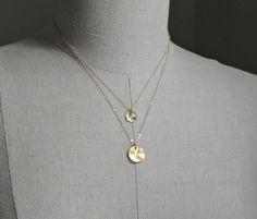 Disc Necklace Gold  Two Initials von SilverLotusDesigns auf Etsy, $36.00