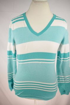 Tommy Hilfiger Womens Sweater size Medium Stripe Long Sleeve Shirt Cotton Cute #TommyHilfiger #PoloRugby