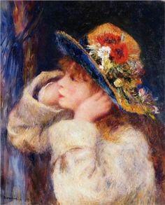 Young Girl in a Hat Decorated with Wildflowers - Renoir Pierre-Auguste Pierre Auguste Renoir, Edouard Manet, August Renoir, Renoir Paintings, Camille Pissarro, Post Impressionism, Claude Monet, Famous Artists, Oeuvre D'art