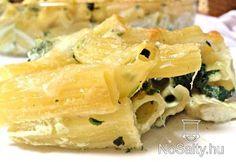 Spenótos-tejszínes-sajtos rigatoni: http://www.nosalty.hu/recept/spenotos-tejszines-sajtos-rigatoni