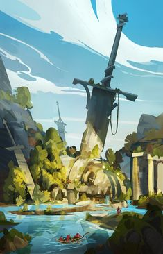 ArtStation - Painting with Selection-The Great sword, Hue TeoYou can find Concept art and more on our website.ArtStation - Painting with Selection-The Great sword, Hue Teo Concept Art Landscape, Fantasy Art Landscapes, Fantasy Landscape, Landscape Art, Landscape Timbers, Landscape Fabric, Fantasy Artwork, Fantasy Concept Art, Game Concept Art