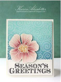 Hero Arts - Striped Flower - Peppermint Patty's Papercraft: Season's Greetings - Christmas Rose