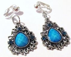 """$9.75 - 1 1/2"""" Silver Plated Blue Stone Beaded Dangle Clips-on Handcrafted Earrings"""