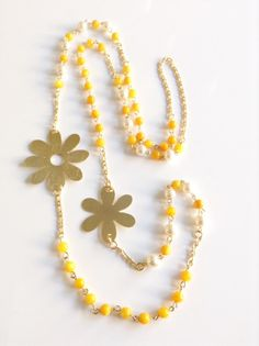 Gold Yellow Necklace, Long Yellow gemstone Necklace, Flower charm, 1 strand statement mother of pearl necklace, statement necklace