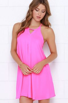 Pep in Her Step Neon Pink Swing Dress at Lulus.com! Love, love this neon pink dress!