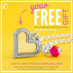 Don't let your memories of a Summer Love fade with the sunset, capture them in a Large Heart Locket, Chain + Dangle - *FREE* with your purchase of $75 or more. Because the best stories are LOVE stories!  The sun sets on this offer Sunday night, or when supplies run out! www.daisyslockets.origamiowl.com