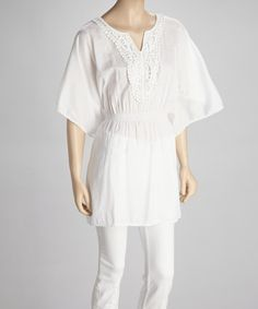 Take a look at this White Cape-Sleeve Tunic by SR Fashions on #zulily today!