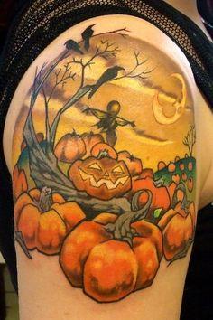 halloween pumpkin tattoo  #tattoo #pumpkin #girls www.loveitsomuch.com