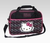 An image of Hello Kitty Black Duffle: Pink + Gray Face