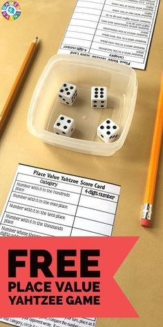 Place value game - Score Some Points with Place Value Yahtzee! – Place value game Grade 6 Math, Fourth Grade Math, Second Grade Math, Grade 3, Sixth Grade, Third Grade Math Games, Math Place Value, Place Values, Place Value Centers