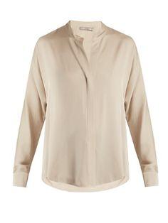 High-neck silk-blend satin shirt | Vince | MATCHESFASHION.COM KR