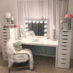 Vanities bedroom furniture vanity mirrors beauty room makeup rooms and glam diy . Diy Vanity Mirror, Vanity Room, Vanity Ideas, Mirror Ideas, Table Mirror, Vanity Set Up, Ikea Vanity, Closet Vanity, Storage Mirror