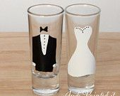 Bride and Groom double shot glass set.  FREE personalization and dishwasher safe