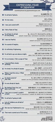 Expressing fear in Japanese Source #japaneselanguage