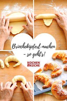 Flaumige Briochekipferl selber machen - Schritt für Schritt! Chicken Wraps, Babys, Donuts, Hamburger, Avocado, Sweets, Drink, Cake, Fitness