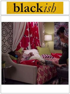 "Marimekko is featured in the popular TV show ""Blackish"". Unikko curtains and pillows are featured throughout the episode and are part of this season's set design. #marimekko #blackish #unikko #curtains #pillows #decor"