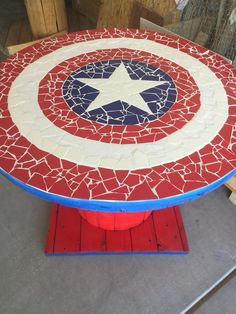 Captain America mosaic spool table