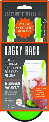 Jokari Hands-Free Baggy Rack Storage Bag Holder JOKARI http://www.amazon.com/dp/B0040LU3Y8/ref=cm_sw_r_pi_dp_RKQIwb0DKW60Z  -  good for holding bags for freezer meals, make ahead meals.  remember, check ebay for prices.   lj