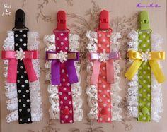 Pacifier clips / pacifier holders CORI PARIS Lace collection, made in France with love Attaches tétines CORI PARIS Collection dentelle, fabriquées en France avec amour