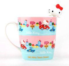 Anniversary mug with supercute stirrer: 1981 Hello Kitty Town Scene Hello Kitty Purse, Hello Kitty Items, Rilakkuma, Sanrio Characters, Cute Characters, Totoro, Hello Kitty Collection, Hello Kitty Wallpaper, 40th Anniversary