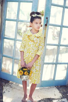Persnickety Clothing - Swiss Dress in Yellow Floral