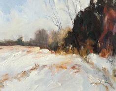 """Nadine Sokol """"Winter Field""""  oil"""