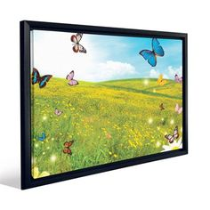 JP London FCNV2107 Rainbow Butterfly Over Summer Field Flowers Framed Art