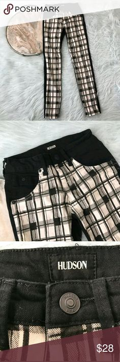 "Hudson Girl's Plaid Skinny Jeans Hudson black white plaid front panel jeans. Girls size 8. Gently used, without flaws. See pictures for details.  Waist laying flat - 10"" Rise - 7"" Inseam - 25""  Inventory 03222017 Hudson Bottoms Jeans"