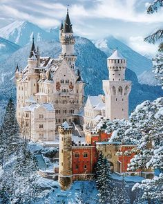 Neuschwanstein Castle in southwest Bavaria, Germany. Photo by . Wonderful Places, Beautiful Places, Places To Travel, Places To Go, Snow Castle, Germany Castles, Neuschwanstein Castle, Fantasy Castle, Fairytale Castle