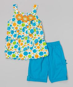 Love this Turquoise Floral Top & Shorts - Toddler & Girls on #zulily! #zulilyfinds