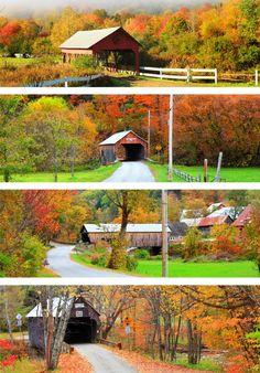 New England covered bridges in autumn