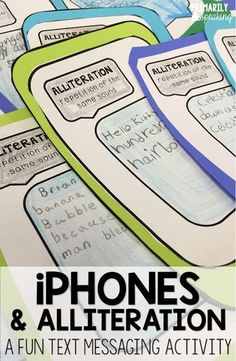 "Fun idea for using iPhones to practice alliteration.  Students write a ""text"" using alliteration.  FREE templates and ideas in post."