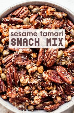 Sesame Tamari Snack Mix is a crunchy, healthy snack that's bursting with sweet, savory, and umami flavors. It's easy to make, gluten-free and vegan!   #sesame #tamari #snackmix #trailmix #healthysnack #glutenfree Snack Mix Recipes, Best Dessert Recipes, Fun Desserts, Baking Recipes, Gluten Free Snacks, Vegan Gluten Free, Healthy Snacks, Paleo, Can I Eat