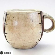 """It's an honor to be a member of this amazing community of artists!  @artaxis with @repostapp ・・・ Please join us in welcoming Brooke Millecchia (@brookemillecchia_ceramics) to Artaxis. This is her work titled, """"Squared Cup"""", porcelain, 4″ x 4″ x 5″, wheel thrown, paddled, and stamped, with underglaze and glaze application, fired to cone 6, in oxidation. See the rest of her new Artaxis page at http://artaxis.org/brooke-millecchia/ #ceramics #pottery #contemporaryceramics #artaxis…"""