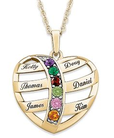 Buy Gold over Sterling Mother's Name & Birthstone Heart Necklace at Limoges. Open heart design is very unique...the cursive print is elegant.