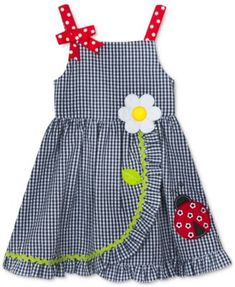 Rare Editions Little Girls Ladybug Wrap-Front Dress - Blue Best Picture For little girl dresses b Baby Girl Dress Patterns, Little Girl Dresses, Baby Dresses, Dress Girl, Infant Dresses, Girls Dresses Sewing, Bridesmaid Dresses, Kids Clothes Sale, Doll Clothes